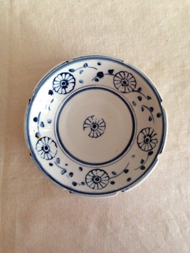 磁器印判染付け輪花深皿の画像1枚目