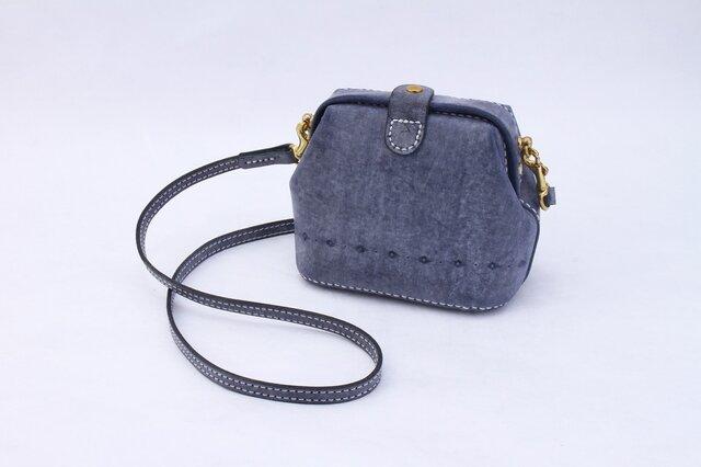 【切線派】がま口 本革手作りのレザーショルダーバッグ 手染め / 総手縫い 中型の画像1枚目