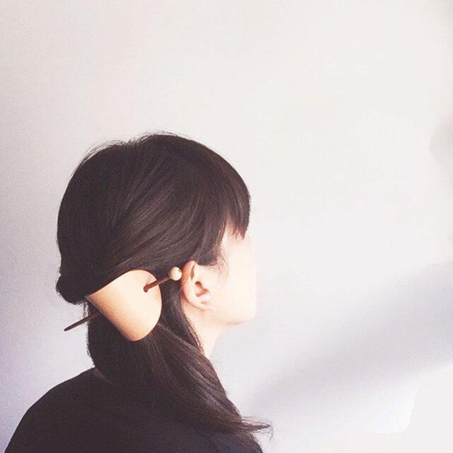 栃木レザー ヌメ革の簪 楕円の画像1枚目
