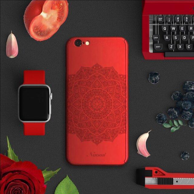 ★Mandala★【全面保護強化ガラスフィルム付き】iPhone ケース iPhone全機種対応 スマホケース 赤の画像1枚目