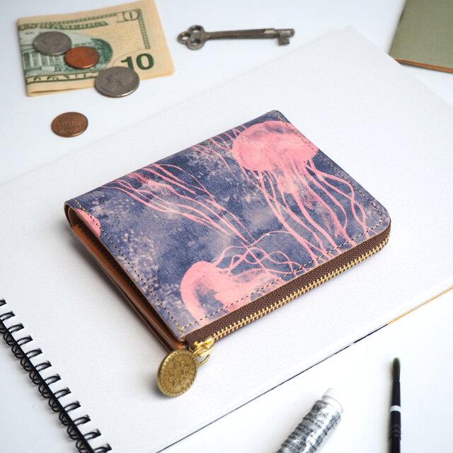 L字ファスナー 財布(ドリーミー ジェリーフィッシュ)オールレザー 革  メンズ レディース ILL-1157の画像1枚目