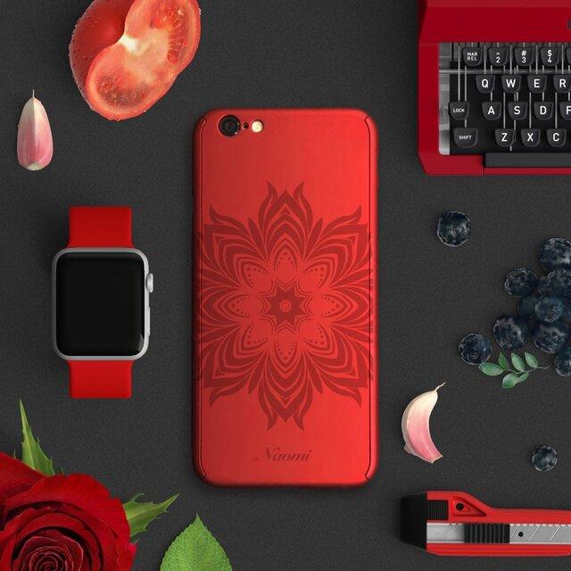 ★Floral★【全面保護強化ガラスフィルム付き】iPhone ケース iPhone全機種対応 スマホケース 赤の画像1枚目