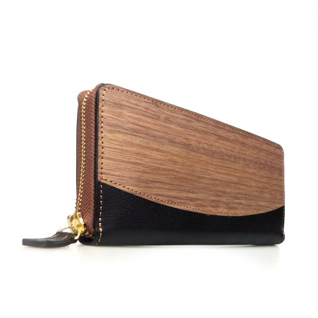 [名入可]木と革のラウンドZIP長財布 --- 贅沢な総革仕上げ [ブラック]の画像1枚目