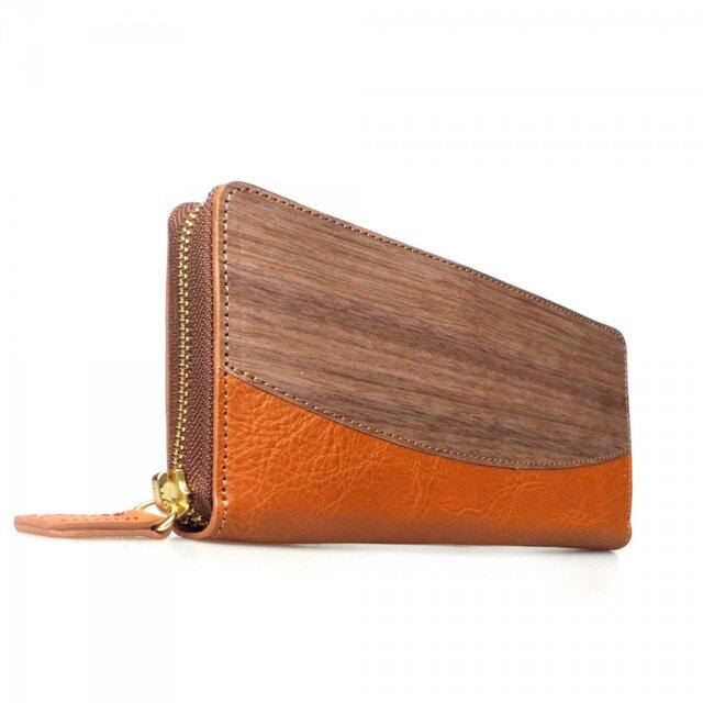[名入可]木と革のラウンドZIP長財布 --- 贅沢な総革仕上げ [キャメル]の画像1枚目