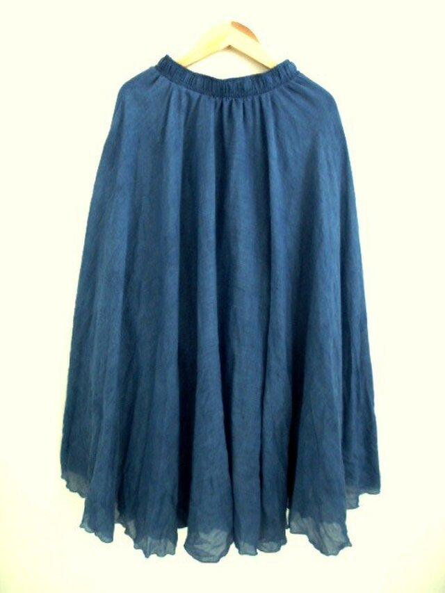 ◆100%自然素材 天然灰汁発酵建て 本藍染◆ 麻&コットンのロングフレアスカートの画像1枚目