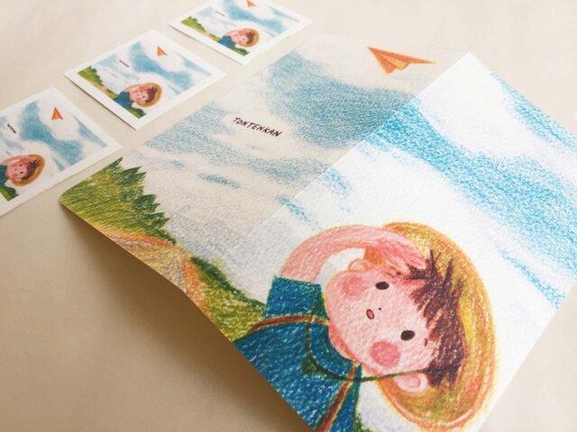 夏の空 2つ折りカードno.012の画像1枚目