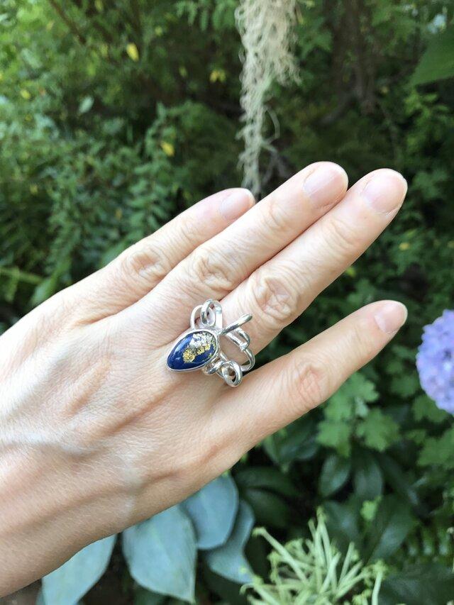 細い蔓のリング950silver・藍色ドロップ#14の画像1枚目