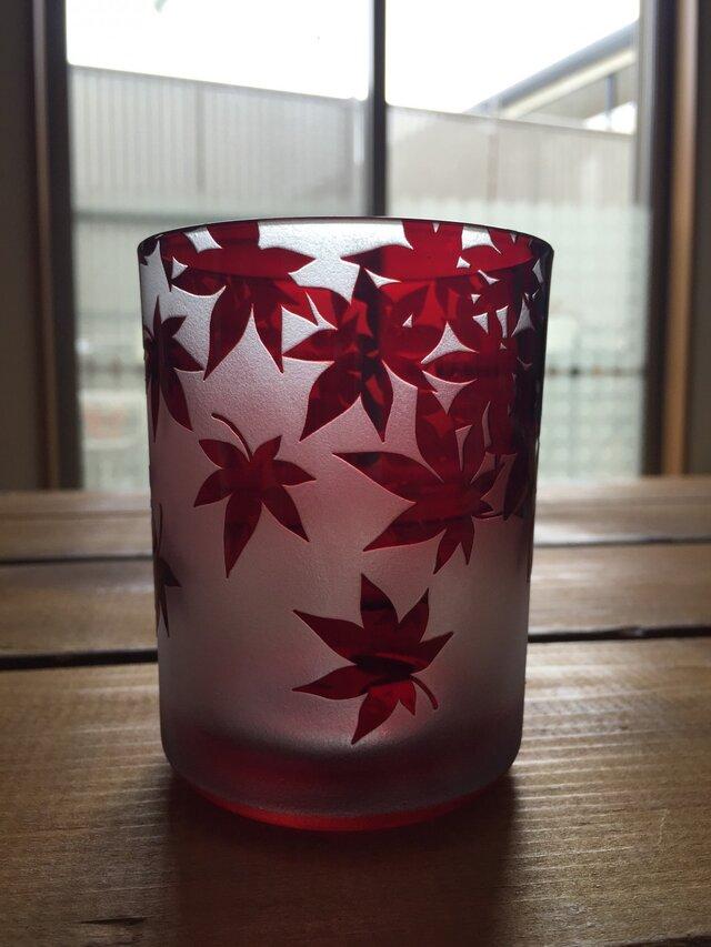 紅葉のグラスの画像1枚目