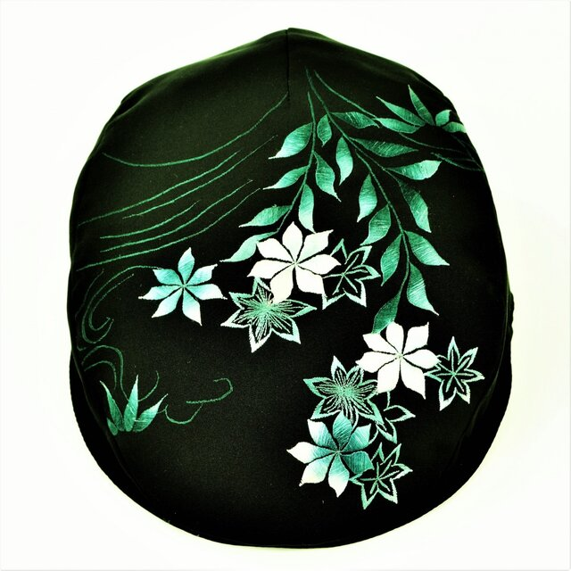 絵羽織ハンチング 花刺繍の画像1枚目