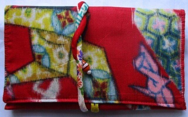 送料無料 銘仙の着物で作った和風財布・ポーチ 2651の画像1枚目