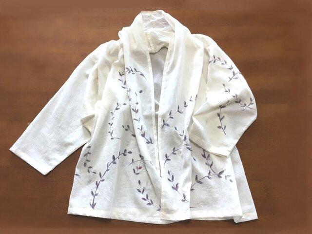 夏の羽織り 綿麻【そよ草】ベージュ 手描きの画像1枚目