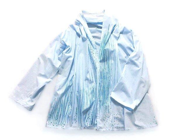 コットン羽織り【とおり雨】手描きの画像1枚目