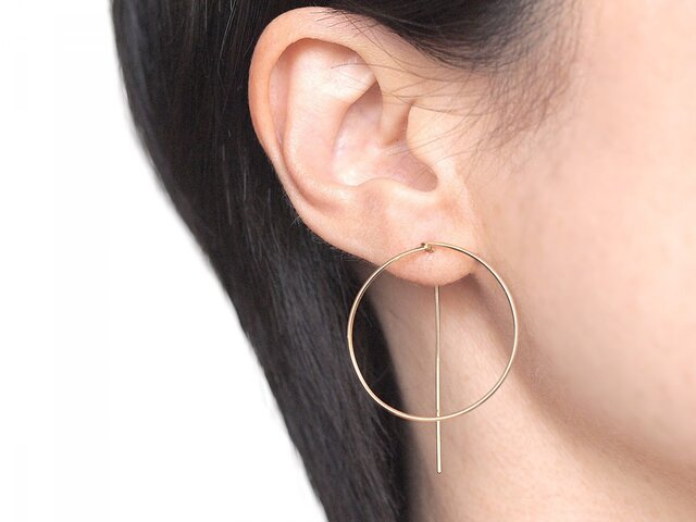 14KGF Square Wire Earrings / Circleの画像1枚目