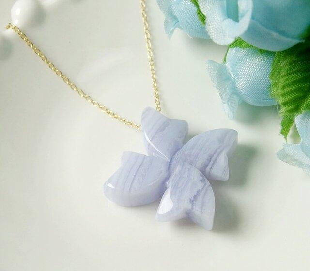 *N59*宝石質ブルーレースAAA☆大粒フラワーネックレス(60cm)の画像1枚目