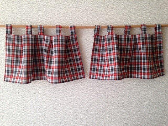 小さなカーテン 2枚組チェックの画像1枚目