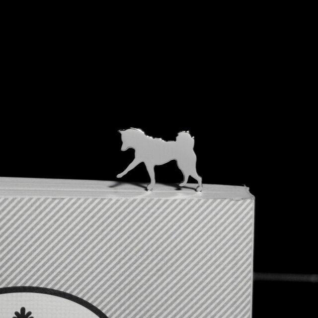 Dog-BookMark-28-d シルバーブックマーク しおり 柴犬【受注制作】の画像1枚目
