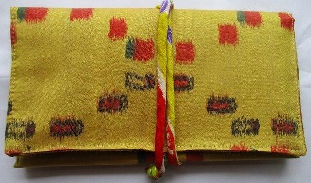 送料無料  銘仙の着物で作った和風財布・ポーチ 2656の画像1枚目