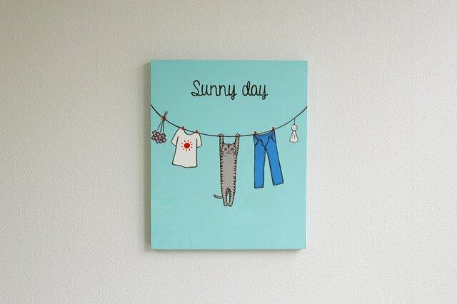 「Sunny day」 ネコのイラスト原画パネルの画像1枚目