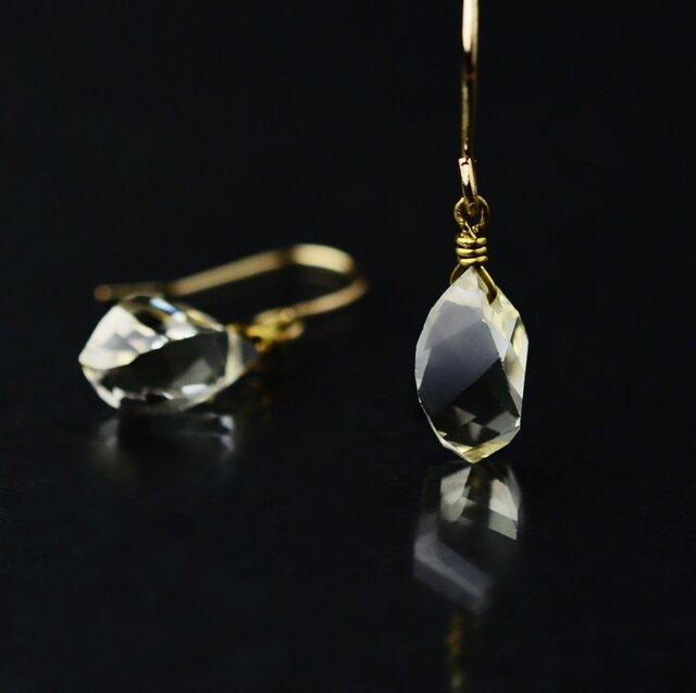 宝石質レモンクォーツのブリオレットカットピアス/イヤリング 天然石 14kgfの画像1枚目