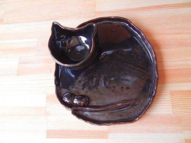 黒猫のお皿三点セットの画像1枚目