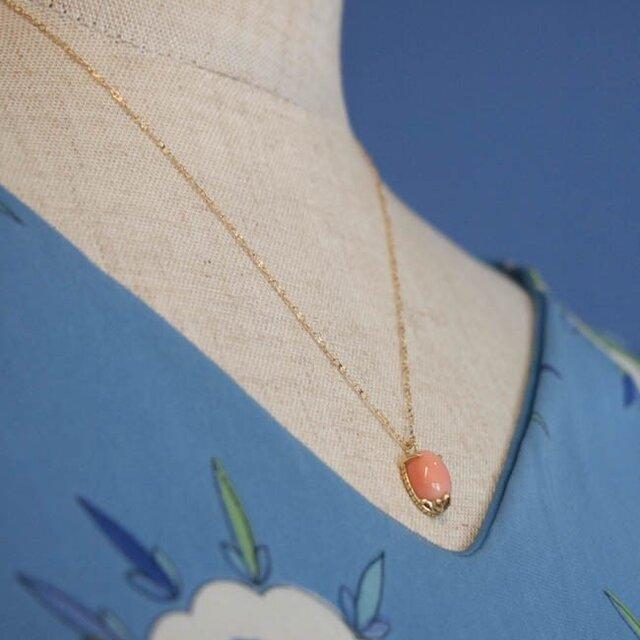 tiara K18 necklace (珊瑚)【FN195】の画像1枚目