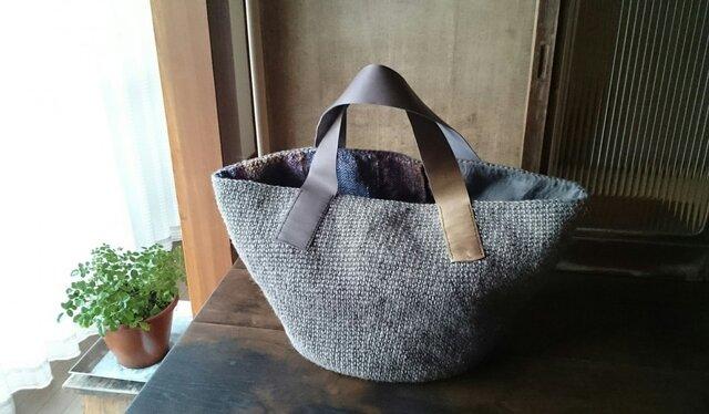 麻紐と手織り布のリバーシブルバッグの画像1枚目