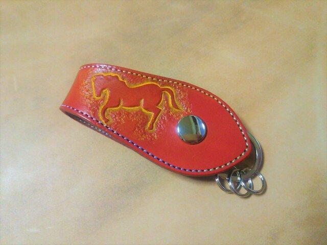 革のキーリング 馬 赤の画像1枚目