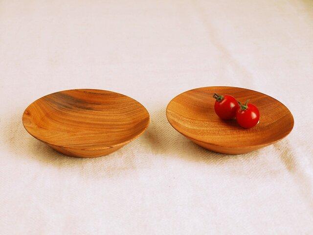 木のお皿・器 欅(ケヤキ)材5 2皿セット の画像1枚目