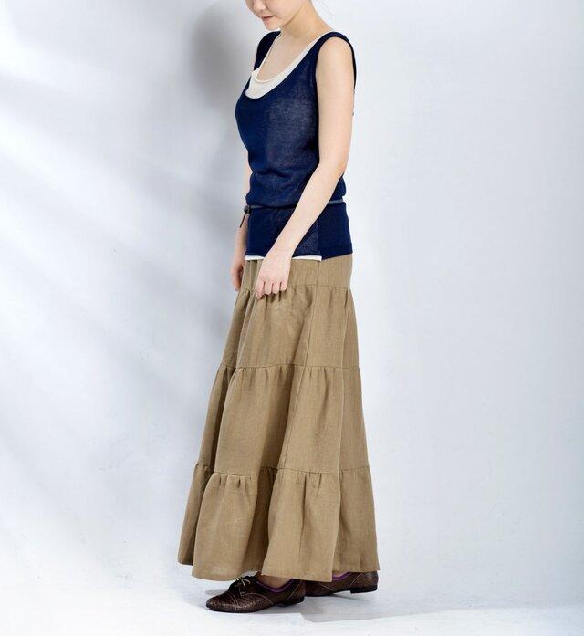 【受注製作】お色選択・リネン切り替えロングスカートの画像1枚目