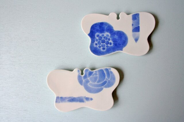芸術のための蝶皿(バラ・鉛筆)の画像1枚目