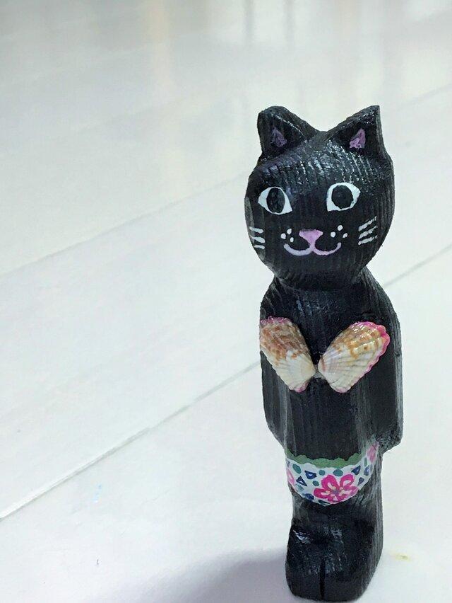 貝殻水着の猫マグネット の画像1枚目