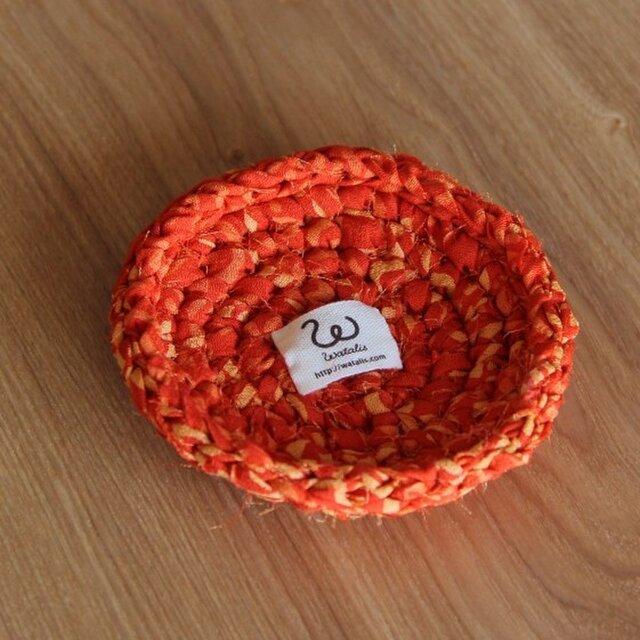 きもの裂き編みコースター 緋色の画像1枚目