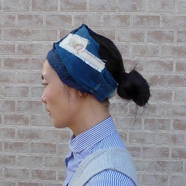 藍木綿x麻絣のターバンの画像1枚目