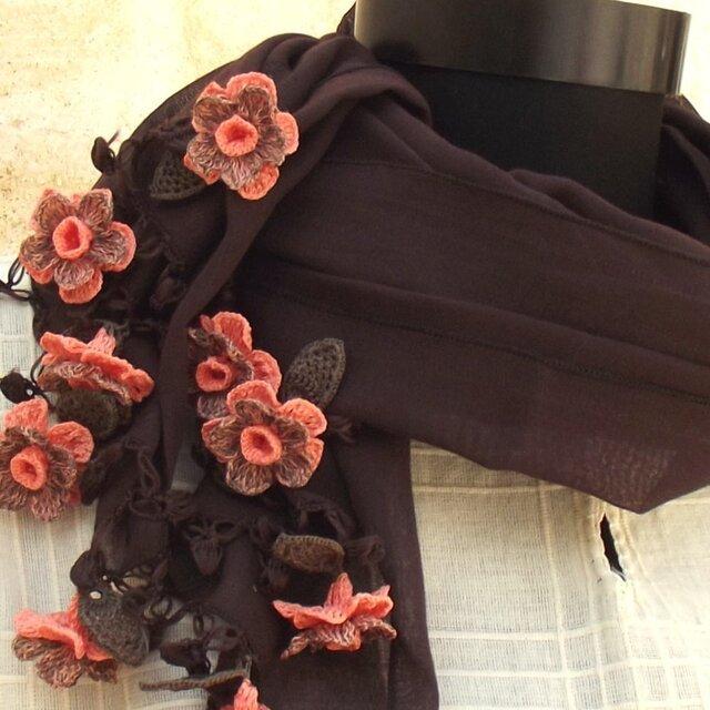 立体レース 花のコットンストール ブラウンの画像1枚目