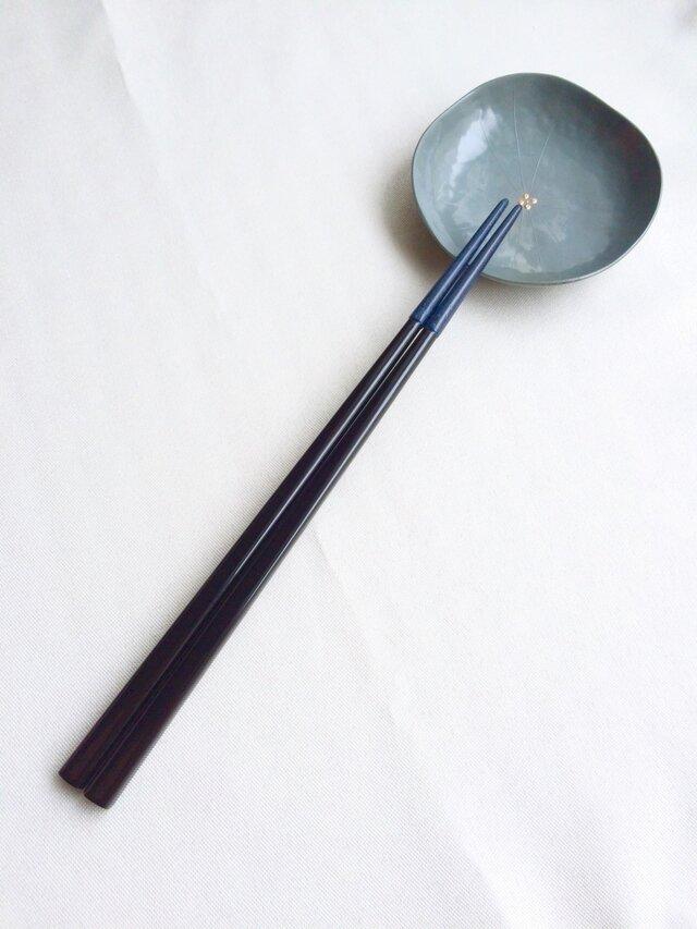 漆の磨き箸(乾漆粉・青)の画像1枚目