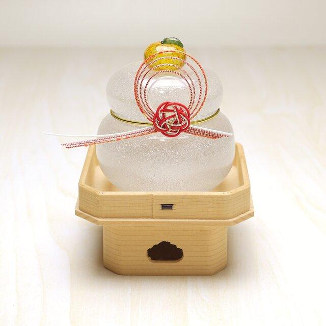 【受注制作】ムクガラス鏡餅(梅)三方台付 ※納期約1週間~の画像1枚目