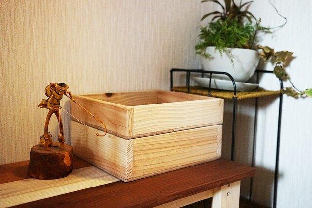 2段重ね・木の小物入れ/多目的ボックスの画像1枚目
