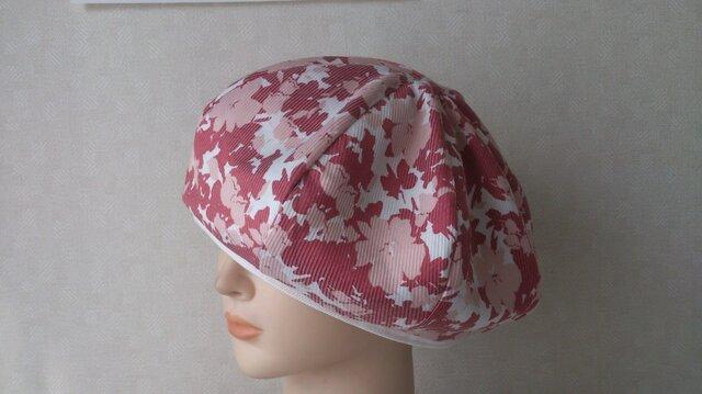 魅せる帽子☆ふんわり♪リバーシブルベレー~フラワープリントの画像1枚目