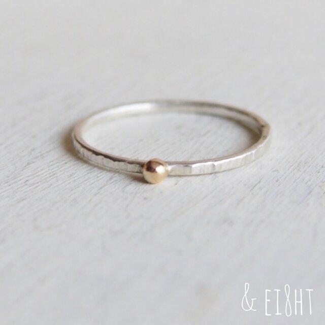【再販】- K10/SV - Textured Ring w/ Gold Grainの画像1枚目