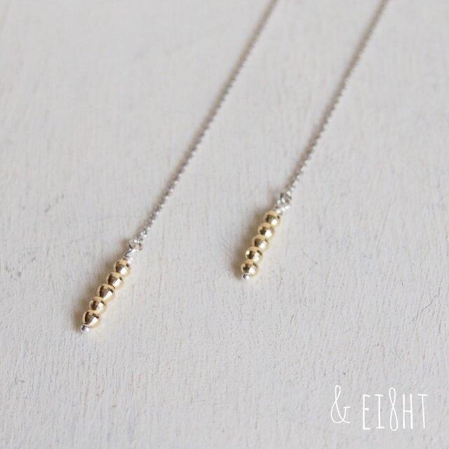 【受注制作】- K10/SV - Chain ピアス w/ Gold Beadsの画像1枚目