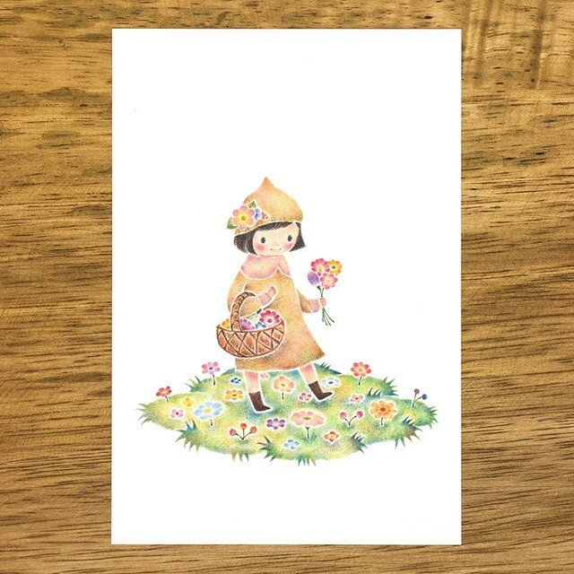 """4枚セット。絵本のような。ポストカード """"花をつんでる小人のカロン"""" PC-305の画像1枚目"""