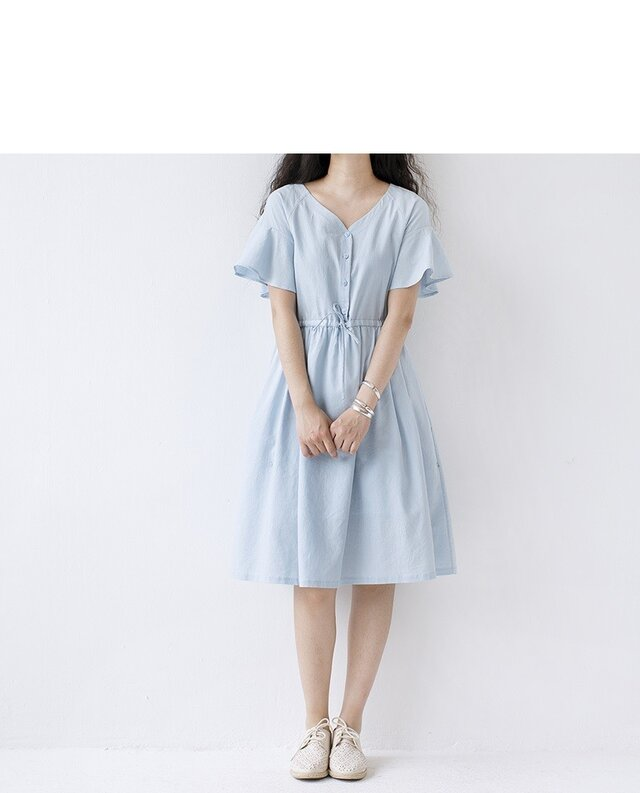 【L】爽やかゆったりシンプルな半袖ワンピース♪の画像1枚目