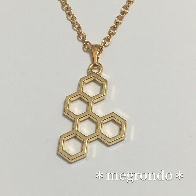 *蜂シリーズ*個性的*幾何学模様*5連穴ハニカム*蜂の巣Aネックレスの画像1枚目