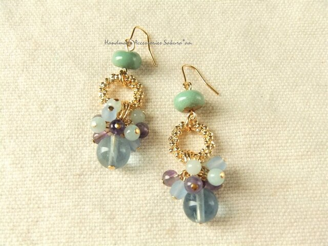 Pierces or Earrings フローライト(P0757)の画像1枚目