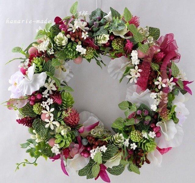 shine & cool:hot pink & white sweetpea wreathの画像1枚目