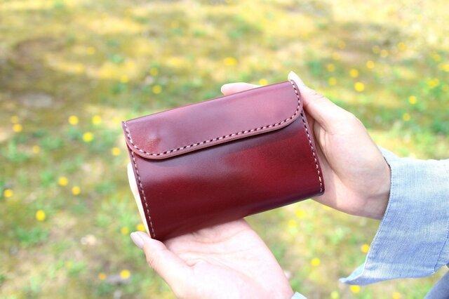 【受注生産品】三つ折り財布 ~栃木アニリンバーガンディ×栃木サドル~の画像1枚目