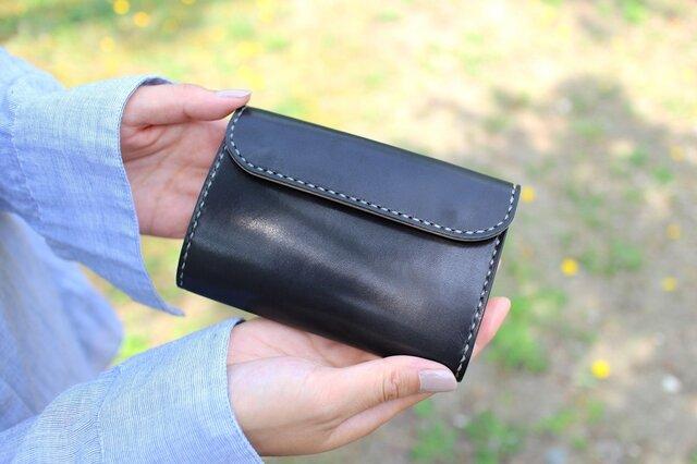 【受注生産品】三つ折り財布 ~栃木ブラックサドル×栃木サドル~の画像1枚目
