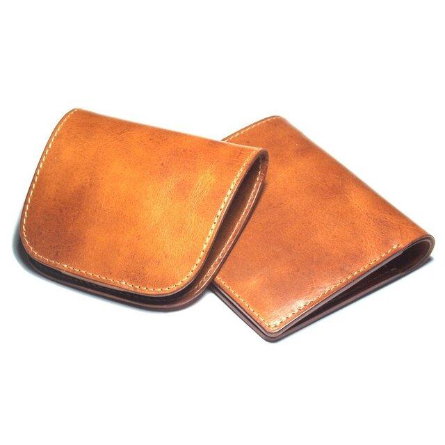 【セット割引・送料無料】小さなハーフウォレット & シンプルコインケース(牛革/プルアップ/Brown)の画像1枚目