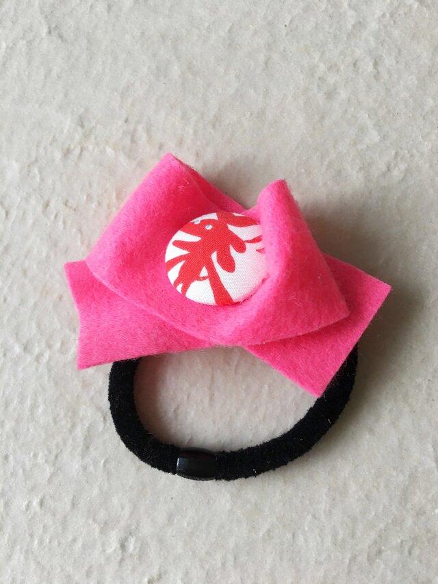 アカイヌ フエルトヘアゴム ピンクの画像1枚目