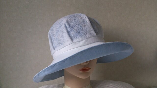 魅せる帽子☆SALE!涼しい!シースルーのリバーシブルキャプリーヌ♪~ホワイト&ブルーの画像1枚目